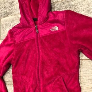 North Face Osito Hooded Jacket XS Dark Pink Fuzzy